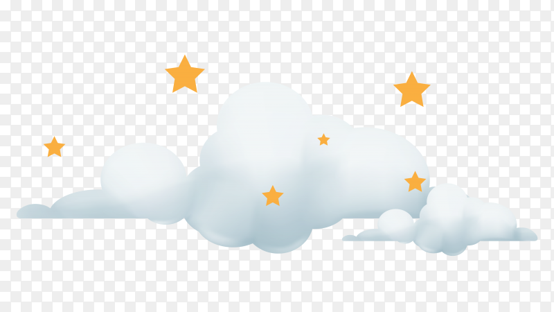 White clouds on transparent background PNG