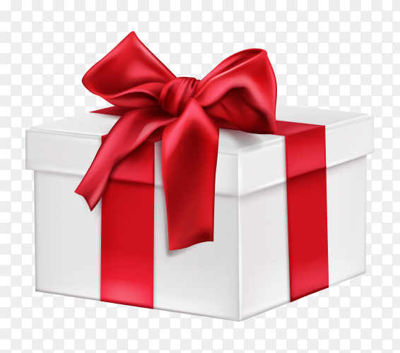 White gift box with red bow on transparent background PNG