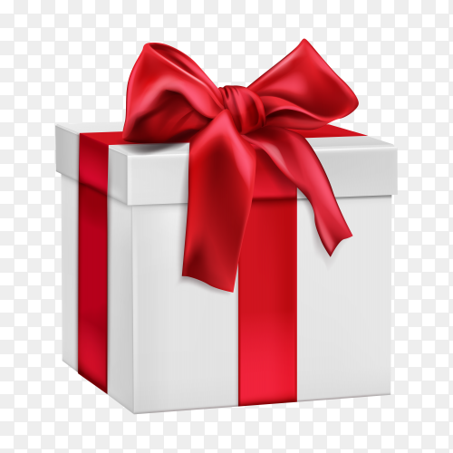 White gift box with red bow premium vector PNG
