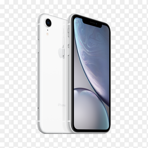 White iphone xr mobile phone on transparent bakground PNG