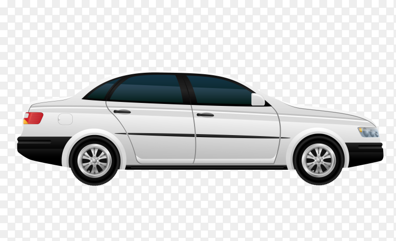 White modern car on transparent background PNG