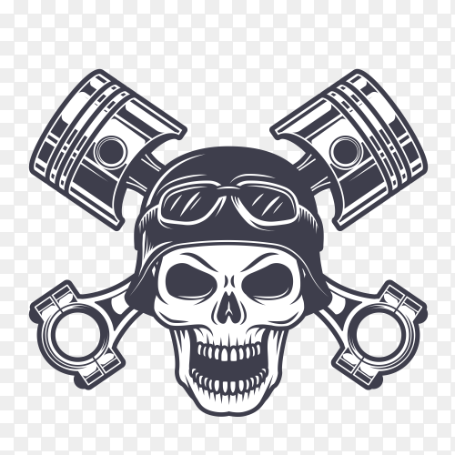 Wild Biker skull on transparent background PNG