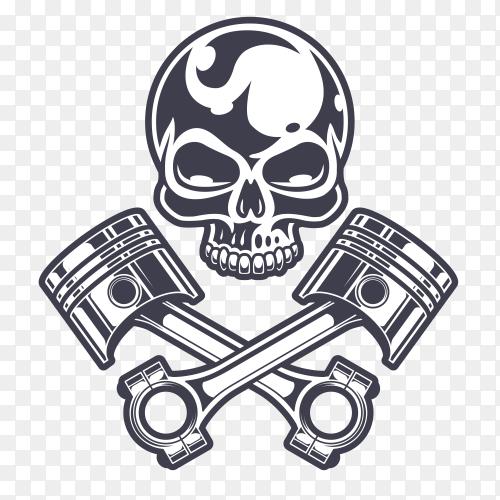 Wild Biker skull premium vector PNG