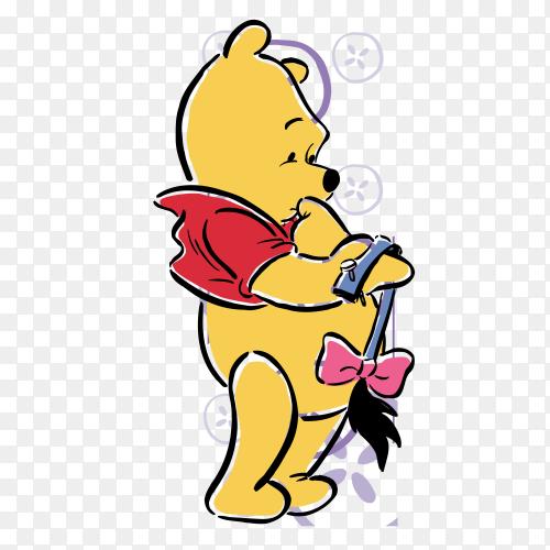 Winnie the Pooh cartoon Premium vector PNG