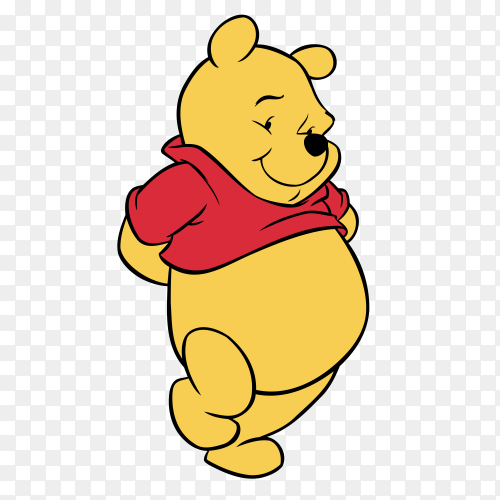 Winnie the Pooh cartoon on transparent background PNG