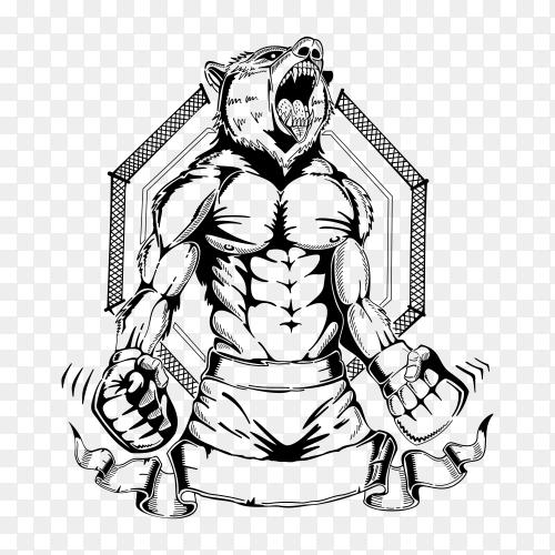 Wolf head in human body Premium vector PNG