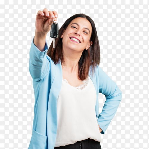 Woman happy smiling holding keys car on transparent background PNG