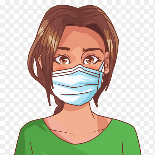 Woman wearing medical mask premium vector PNG
