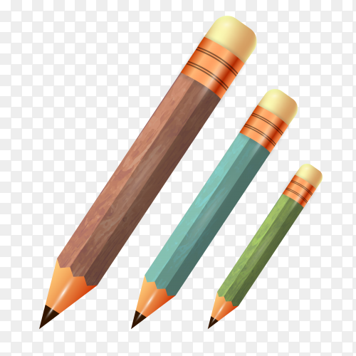 Wooden pencils collection on transparent background PNG