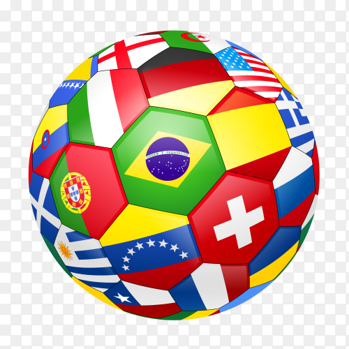 World flag ball on transparent background PNG