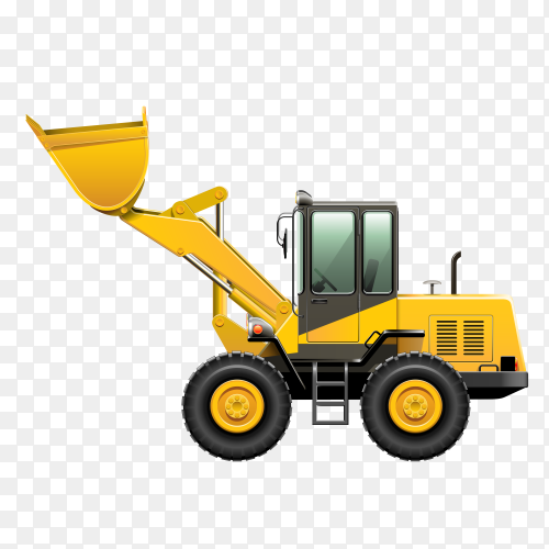 Yellow Bulldozer on transparent background PNG