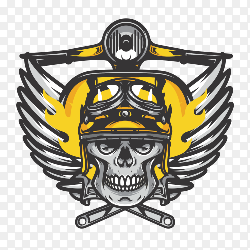 Yellow Skull bikers badge Premuim Vector PNG