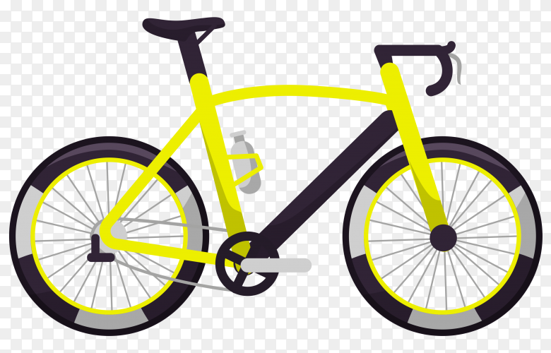 Yellow bicycle on transparent background PNG