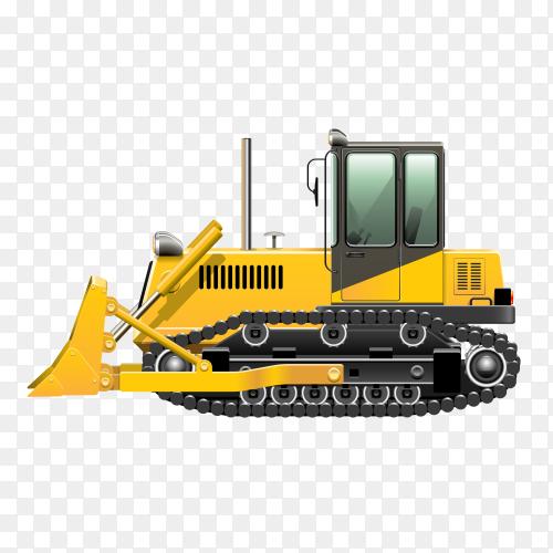 Yellow bulldozer tractor Premium vector PNG