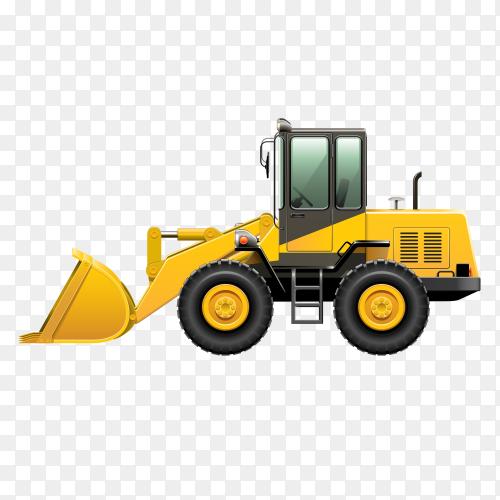 Yellow bulldozer tractor vector PNG