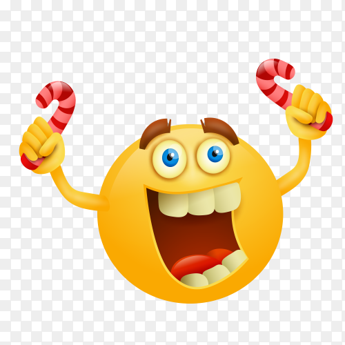 Yellow emoji face on transparent background PNG