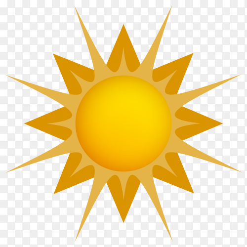 Yellow sun icon on transparent background PNG