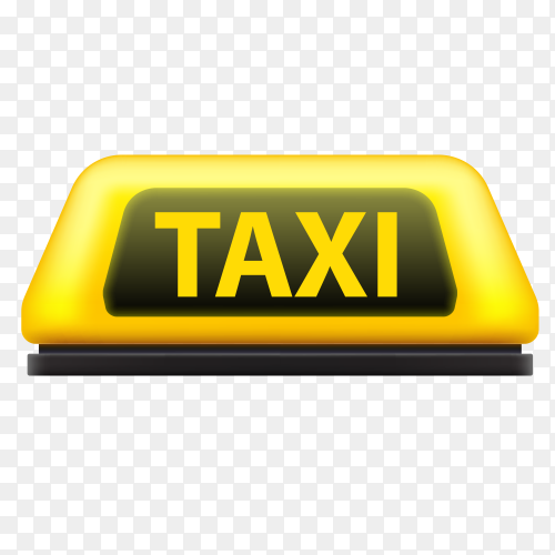 Yellow taxi sign on transparent background PNG