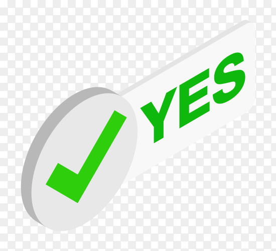 Yes green checkmark on transparent background PNG