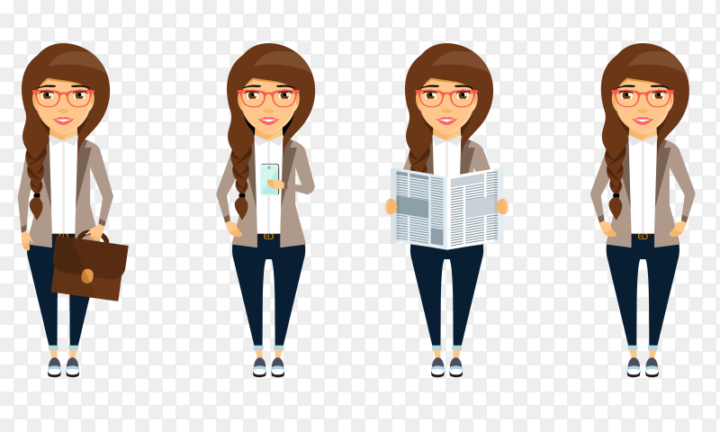 Young business woman in office clothes Premium vector PNG
