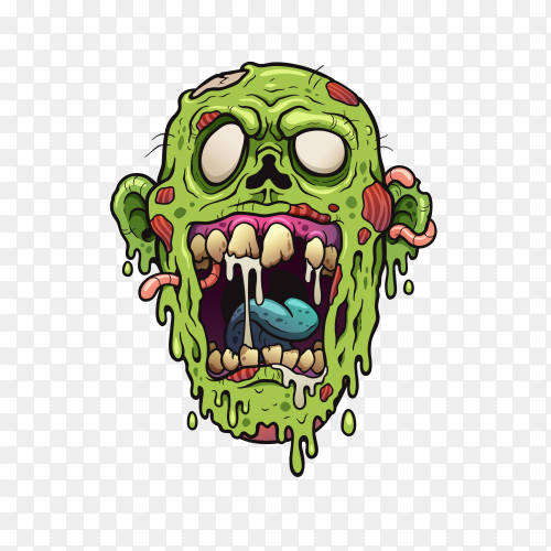 Zombie face Cartoon Premium vector PNG