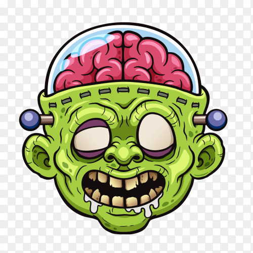 Zombie face cartoon on transparent background PNG