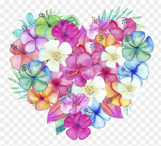 Beautiful heart filled with watercolor flowers leaves clipart PNG