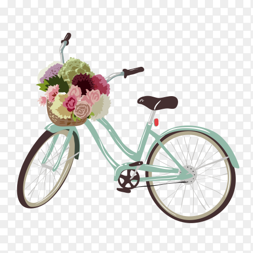 bicycle with flowers illustration on transparent background PNG