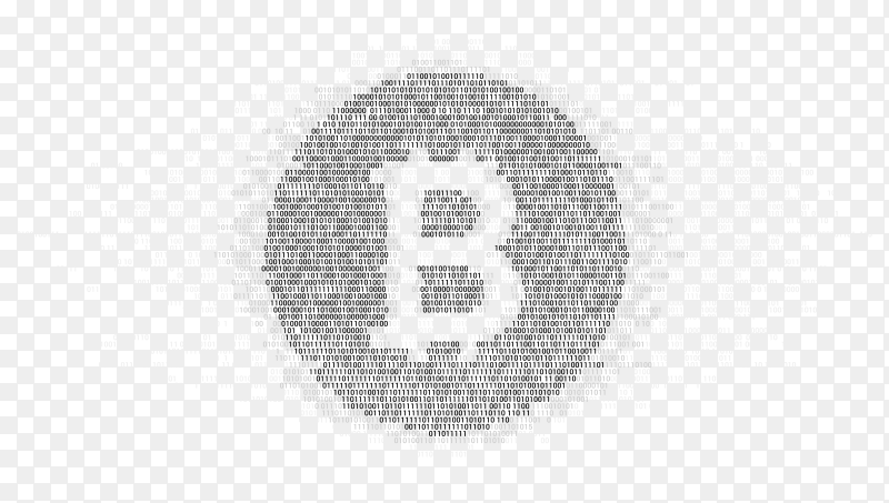 Bitcoin symbol with one zero binary code digit matrix Clipart PNG