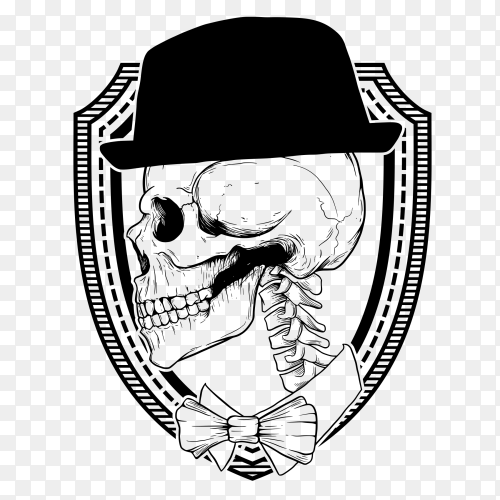 black and white dancer skull illustration on transparent background PNG