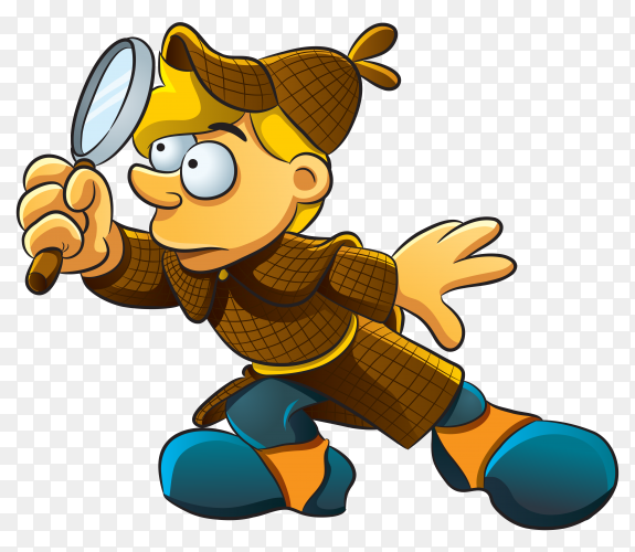 Cartoon boy with magnifying glass on transparent background PNG