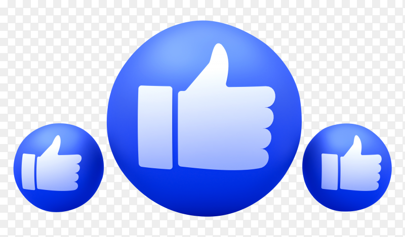 Facebook reactions like emoji 3d render on transparent background PNG
