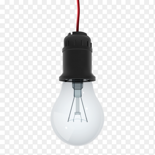 Light bulb hanging electric wire on transparent background PNG