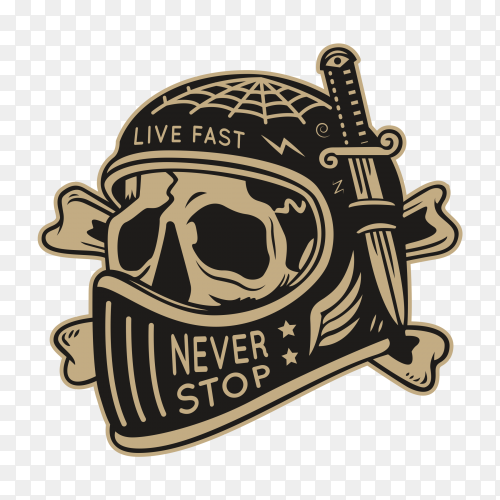 Motorcycle club skull wiht helmet illustration premium vector PNG