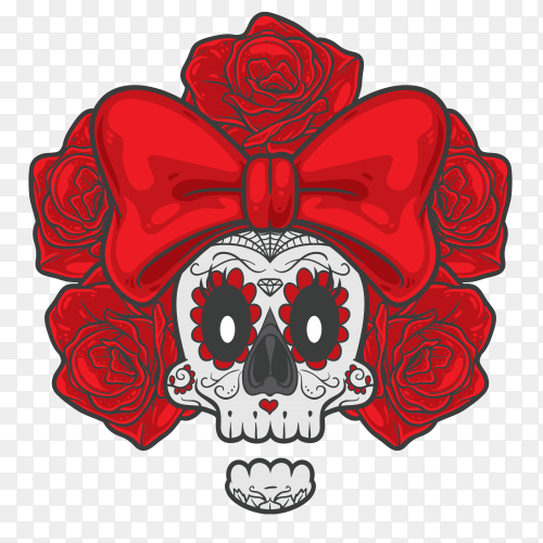 Skull with big red Ribbon on front on transparent background PNG