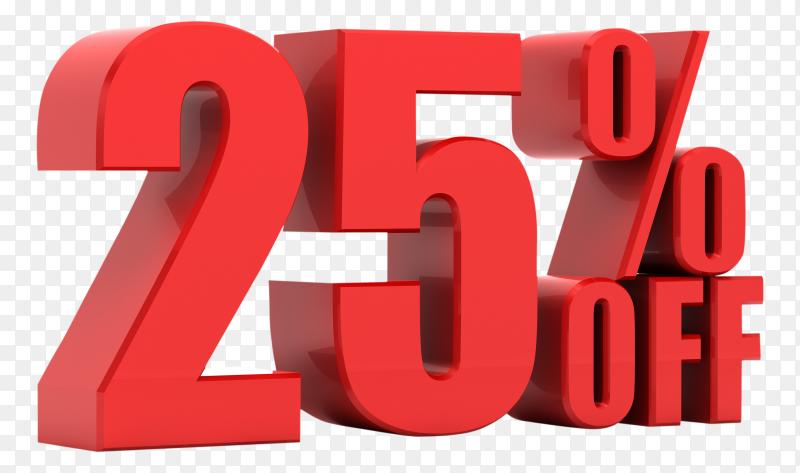 25 percent off promotion on transparent background PNG