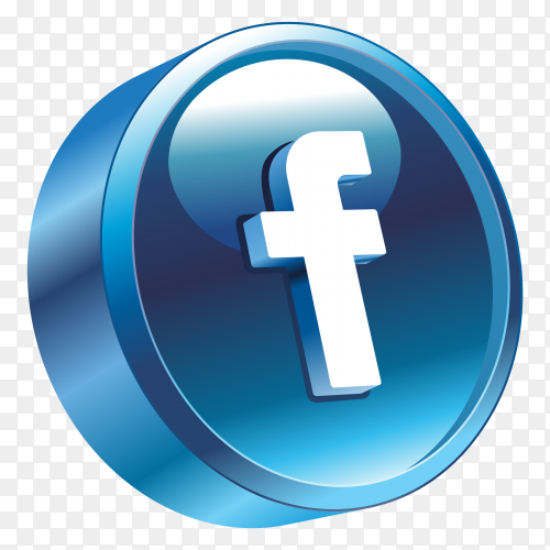 3D Facebook Logo on transparent background PNG
