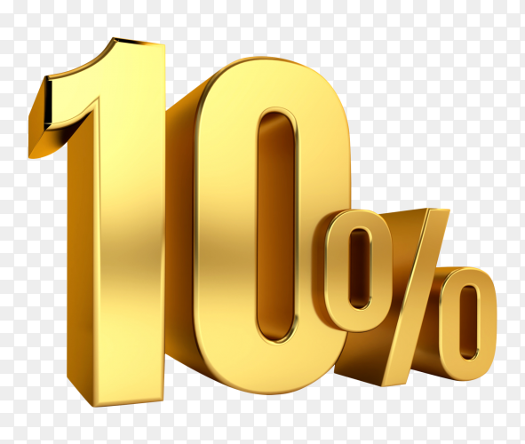 3D Gold metal discount 10 percent on transparent background PNG