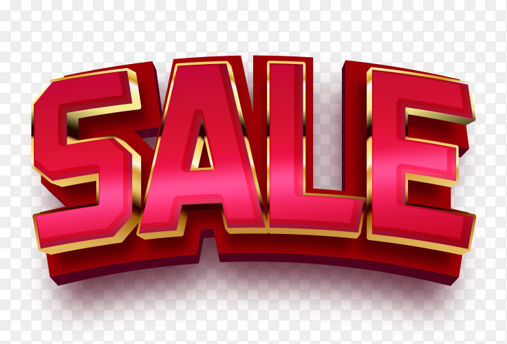 3D Sale lettering design on transparent background PNG