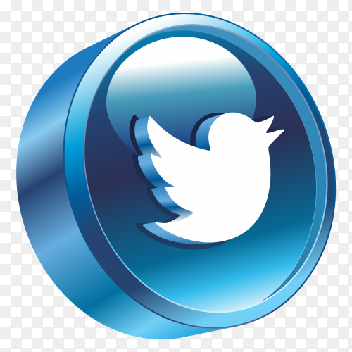 3D Twitter Logo on transparent background PNG