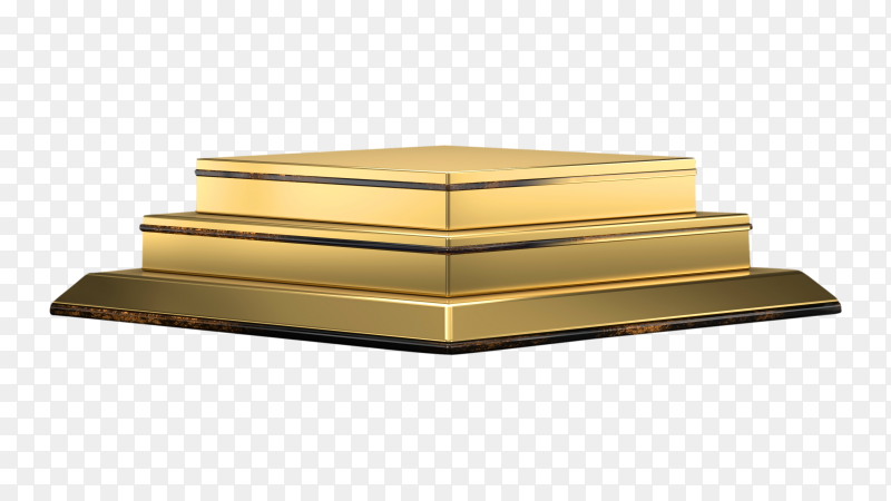 3D abstract  render gold podium on transparent background PNG