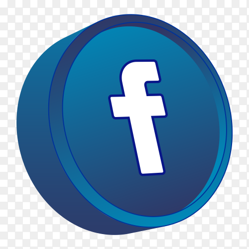 3D facebook icon on transparent background PNG