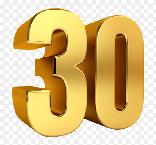 3D golden thirty number on transparent background PNG