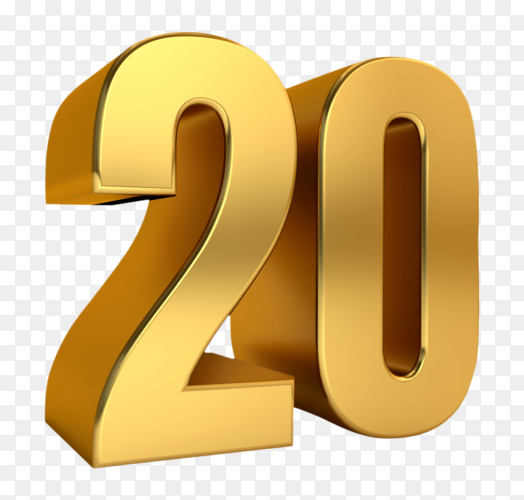 3D golden twenty number on transparent background PNG