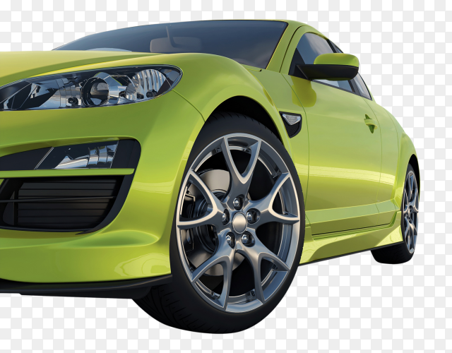 3D green modern car on transparent background PNG