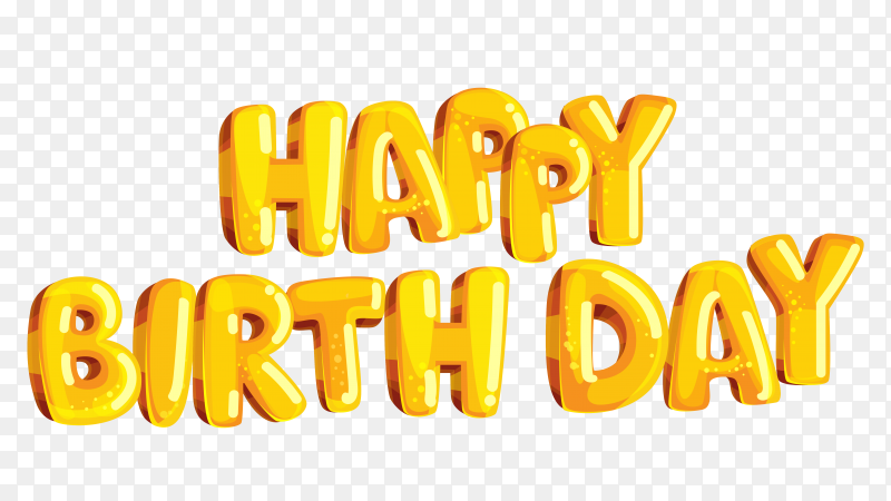 3D happy birthday lettering design on transparent background PNG