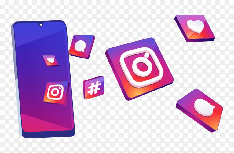 3D intsagram icons on smart phone on transparent background PNG