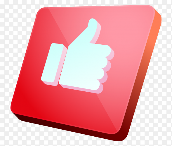 3D like icon premium vector PNG