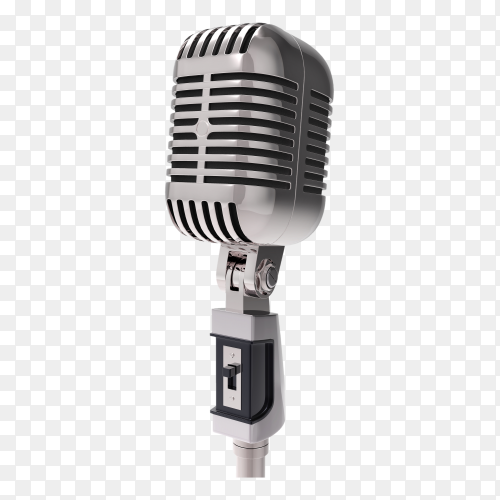 3D retro microphone isolated on transparent background PNG