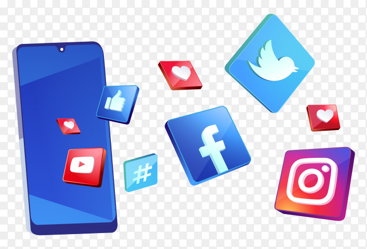 3D social media icons with smartphone symbol on transparent background PNG
